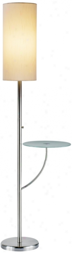 Laurel Satin Steel Tray Table Flor Lamp (r4604)