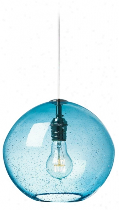 "Lbl Isla Aqua With Satin Nickel 9 3/4"" Wide Pendant Gay (v2276)"