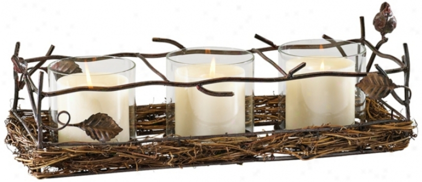 Leaf And Branch Iron And Wood Pillar Candle Holder (v0870)