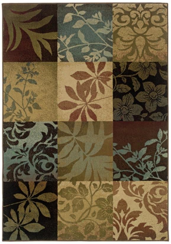 """Leaf Collage Squares 7' 8""""x10' 1"""" Region Rug (j1780)"""