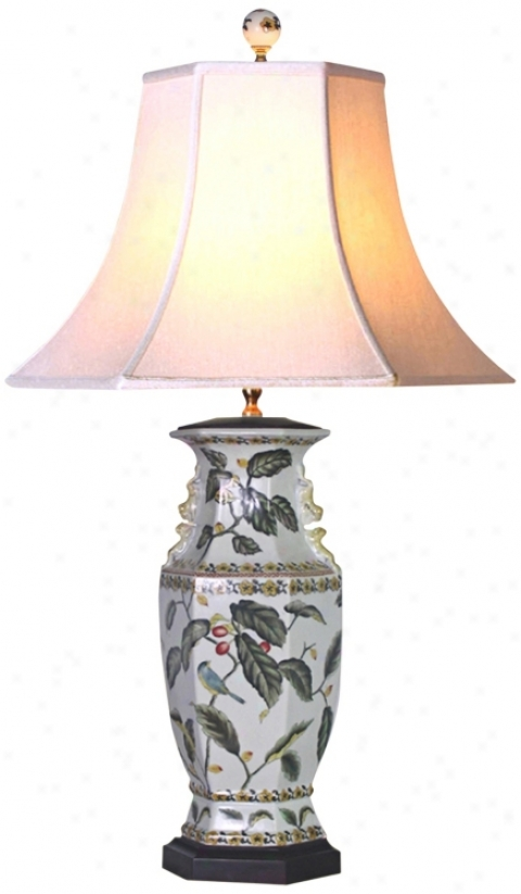 Leaf Motif Hexagonal Porcelain Vase Table Lamp (g6993)