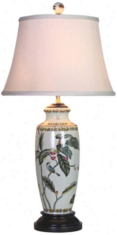 Leaf Motif Slim China Vase Tabble Lamp (g6990)