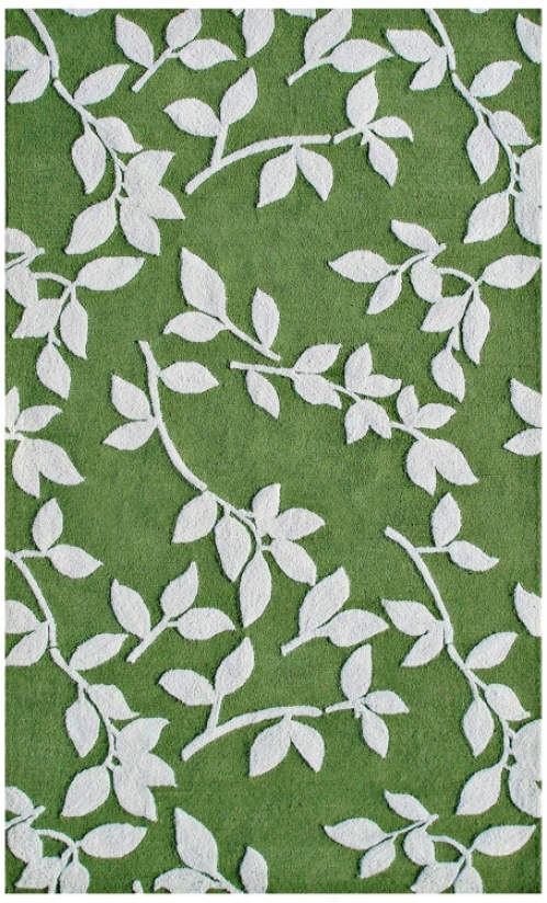 Leaves Green Indoor Outdoor Rug (k0130)