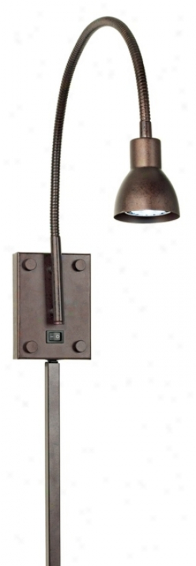Led Bronze Gooseneck Plug-in Swing Arm Wall Lamp (72892)