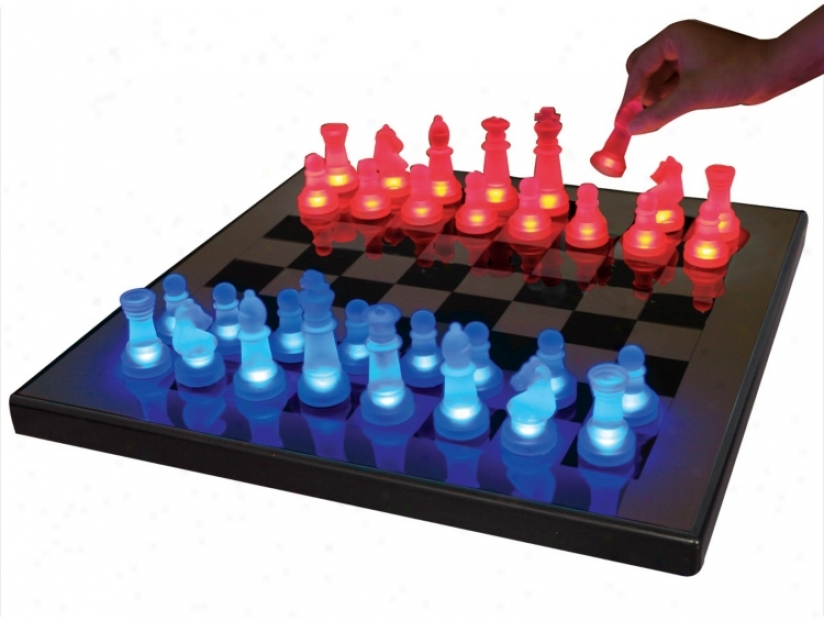 Led Glow Blue And Red Chess Set (k9051)
