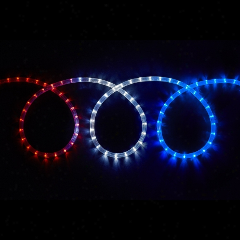 Led Red White And Blue 12' Long Rope Light (t8471)