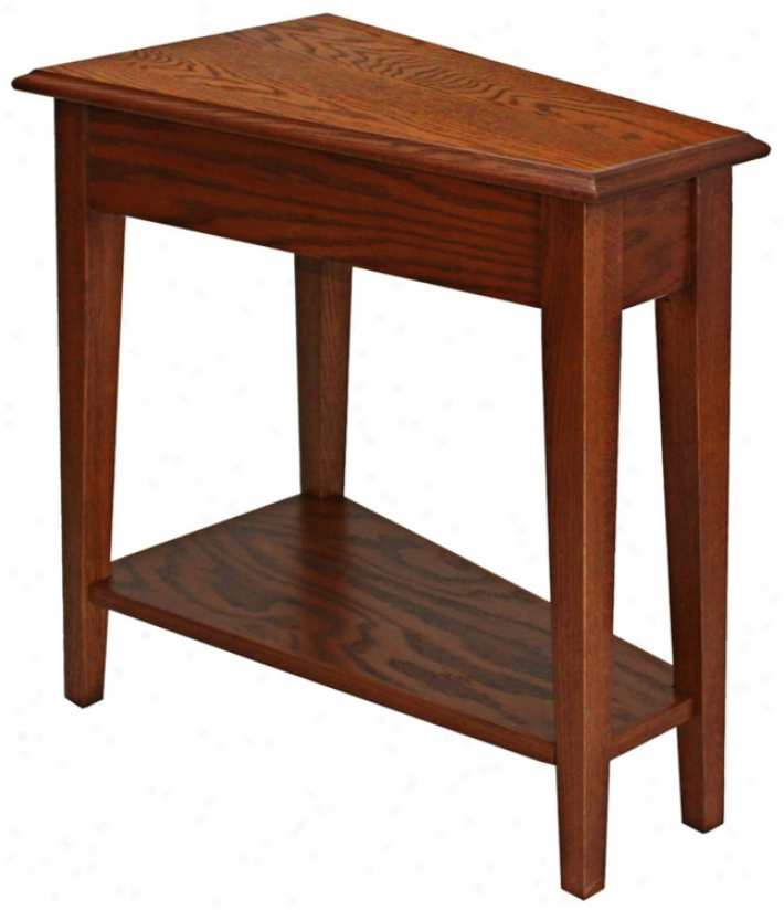 Leick Furniture Oak Finish Wedge Accent Table (p52242)