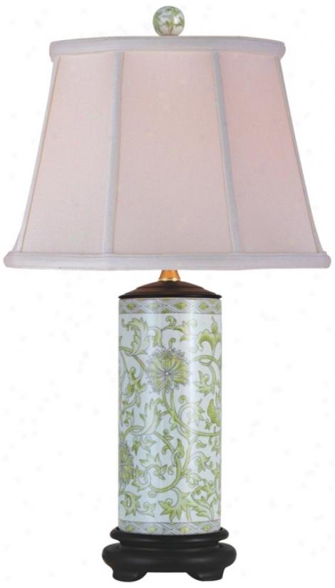 Lemon Green Porcelain Cylinder Vase Flat Lamp (n2123)