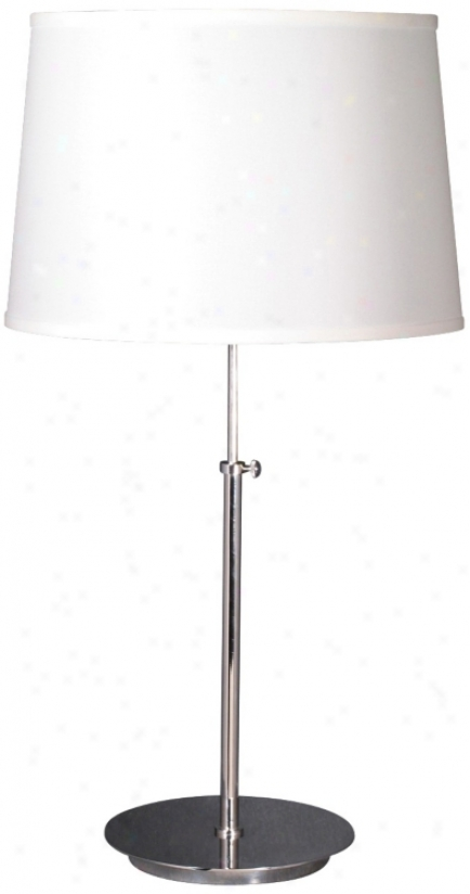 Lelsey Polished Nickel And White Shade Adjustable Table Lamp u(9252)