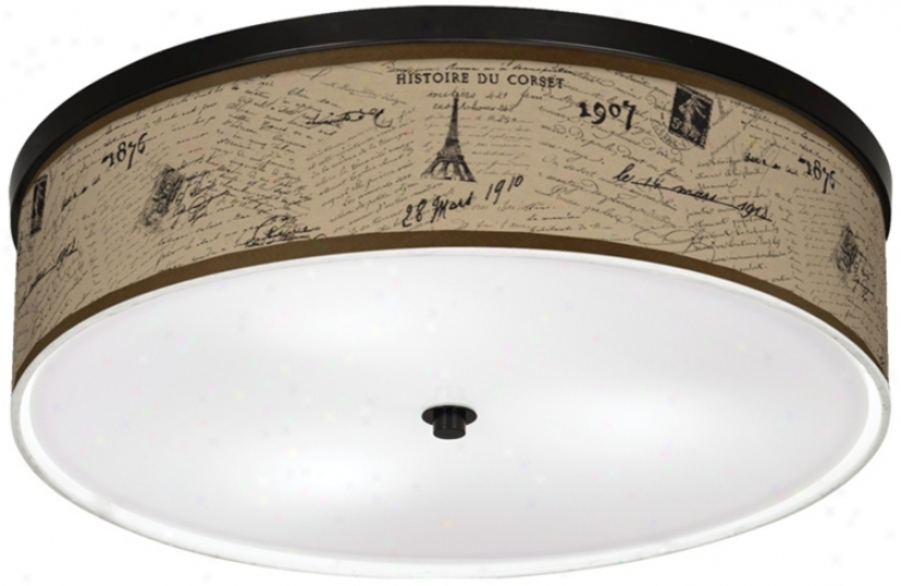 "Letters To Paris Linen 20 1/4"" Wide Cfl Ceiling Light (k2832-u1658)"