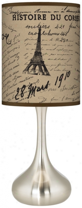 Letters To Paris Linen Giclee Kiss Table Lamp (k3344-u1691)
