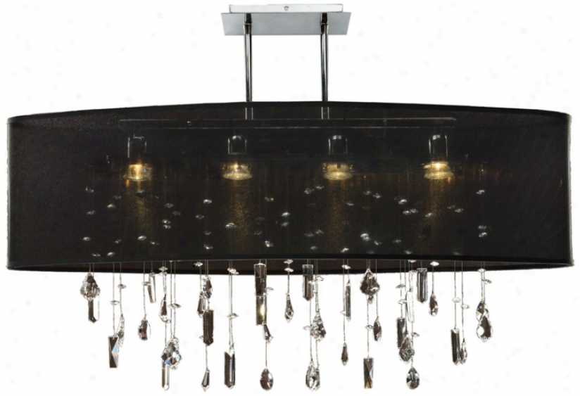 "Lifestyles 33"" Wide Oval Large Black Pendant Chandelier (n7284)"