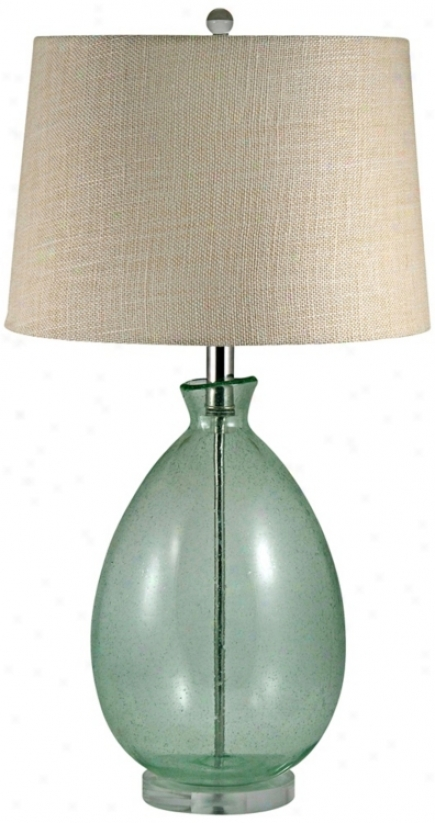 Light Green Seeded Glass Table Lamp (v2532)