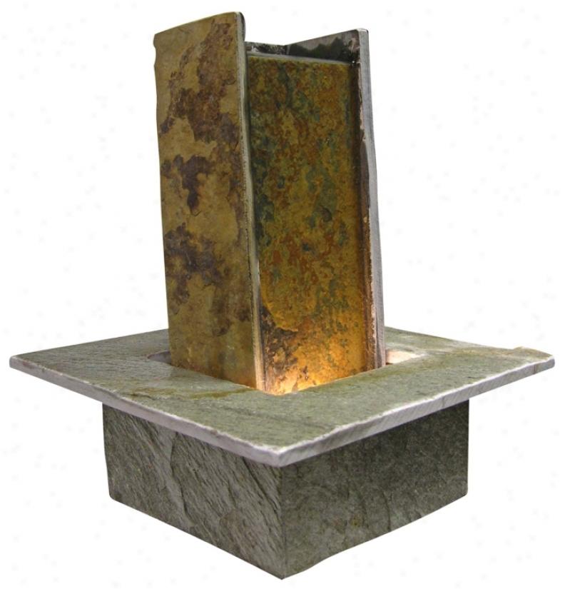 Lighted Slate Stone Pillar Table Fountain (g2268)