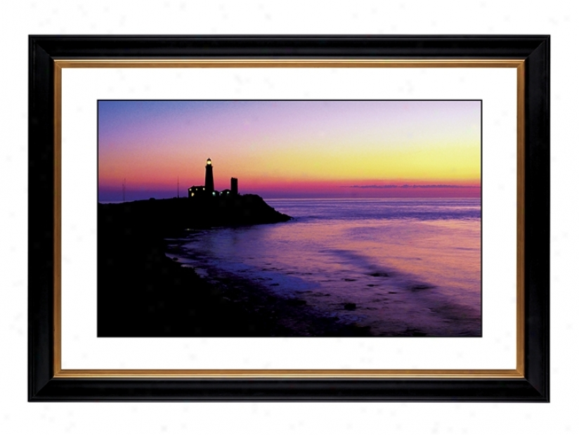 "Lighthouse At Sunset Giclee 41 3/8"" High Wall Art (54896-80384)"