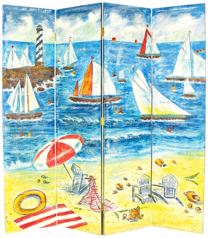 Lighthouse Regatta Hand-painted Room Divider Screen (g7460)