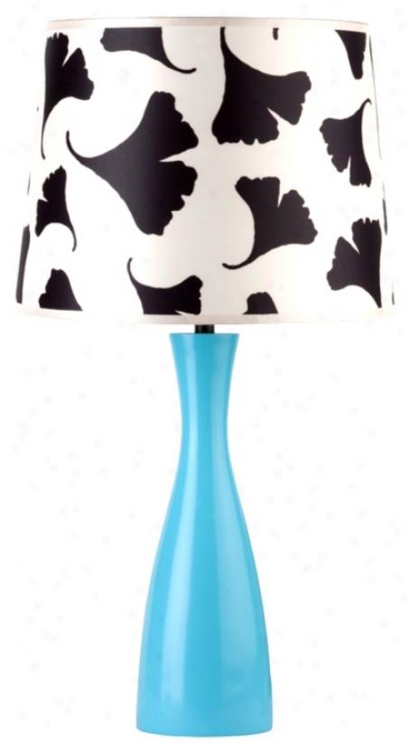 Lights Up! Black Ginko Leaf Shade Blue Oscar Table Lamp (t4007)