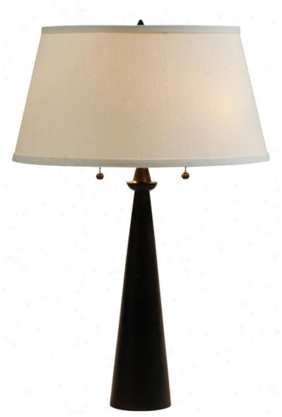 Lights Up! Dasan Bronze Table Lamp Ivory Ipanema Shade (99787)