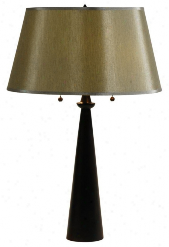 Lights Up! Dasan Bronze Table Lamp With Silk Glow Shade (99785)