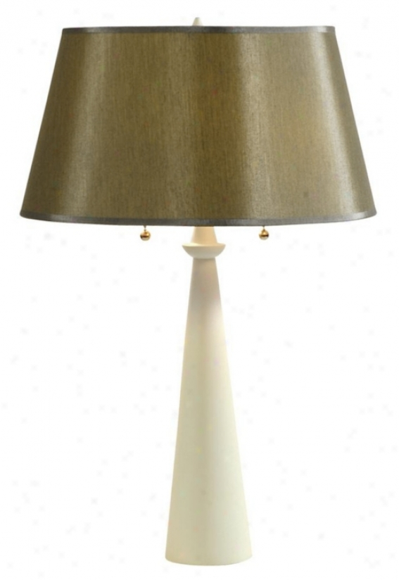 Lights Up! Dasan Ivory Table Lamp Driftwopx Silk Shade (61045)