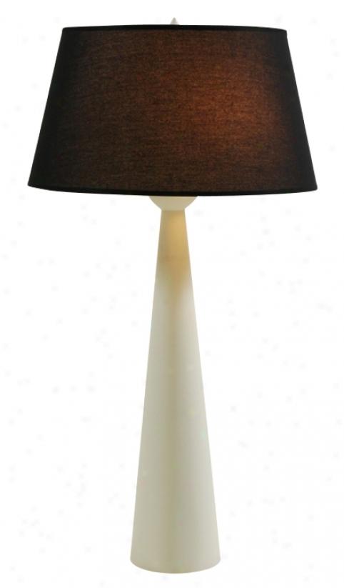 Lights Up! Dasan Tall Ivory Table Lamp Black Silk Shade (99781)