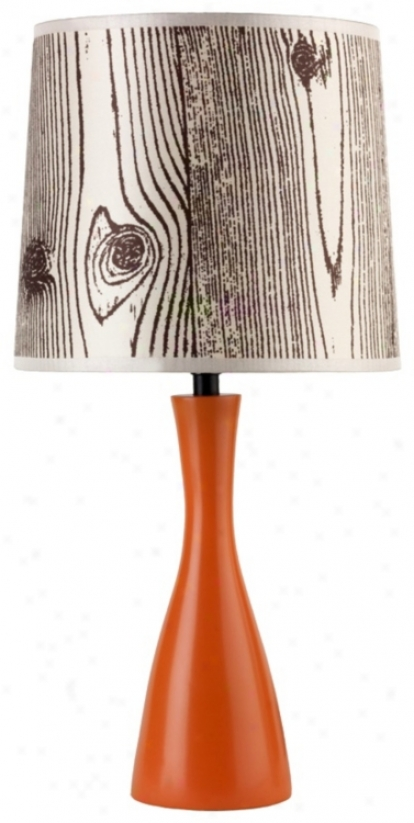 Lights Up! Faux Bois Shade Carrot Finish Oscar Table Lamp (t3497)
