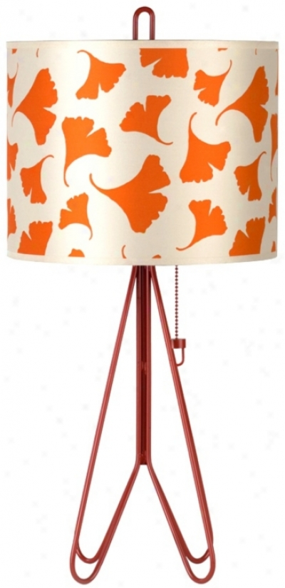 Lights Up! Flight Brick Red Orange Ginko Leaf Table Lamp (t6644)