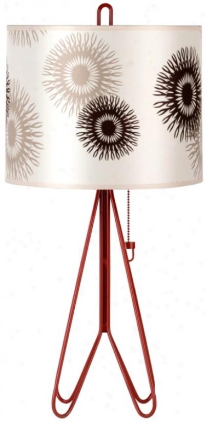 Lights Up! Flight Brick Red Orange Tan Cornfl0wer Table Lamp (t6646)