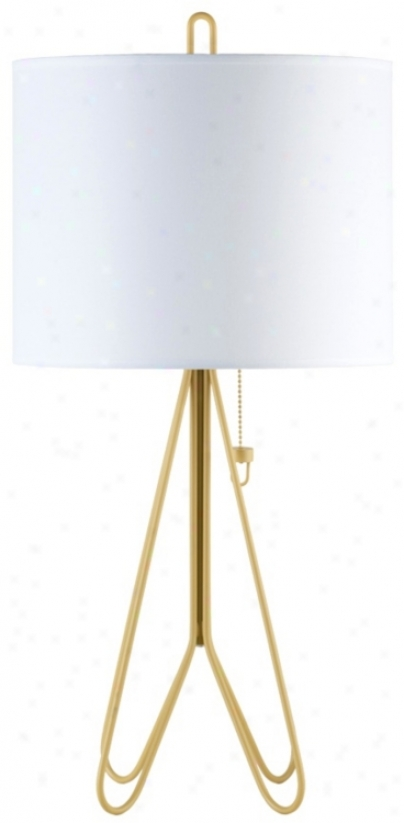 Lights Up! Flight Dark Yellow White Linen Shade Table Lamp (t6651)