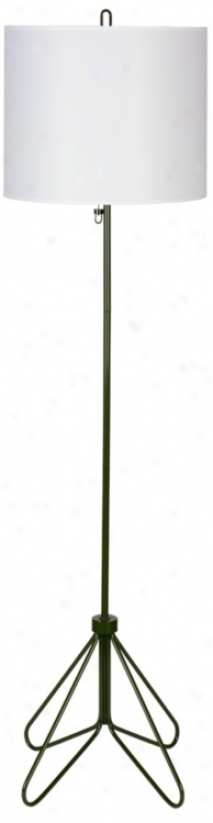 Lights Up! Flight Forest Green White Linen Shade Floor Lamp (t2988)