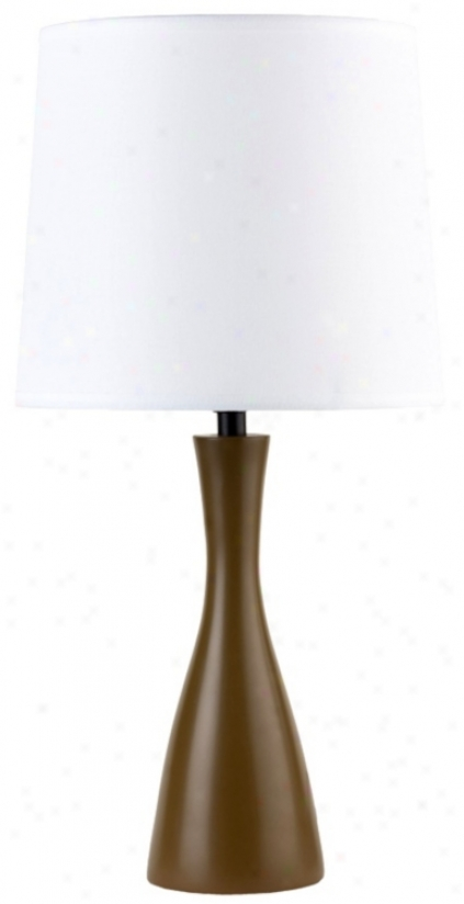 Lights Up! Linen Shade Olive Finish Oscar Table Lamp (t3523)