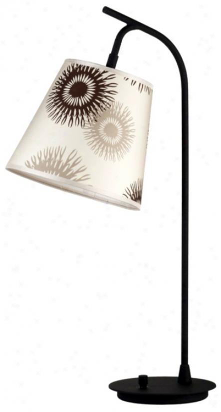 Lights Up! Tan Cornflower Shade Walker Table Lamp (t3490)