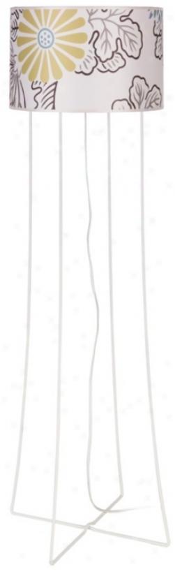 Lights Up! Virgil White Steel Kimono Shade Floor Lamp (t3011)