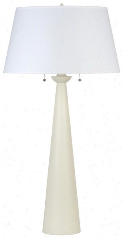 Lights Up! White Linen Shade Nikki Tall Ivory Table Lamp (t5192)