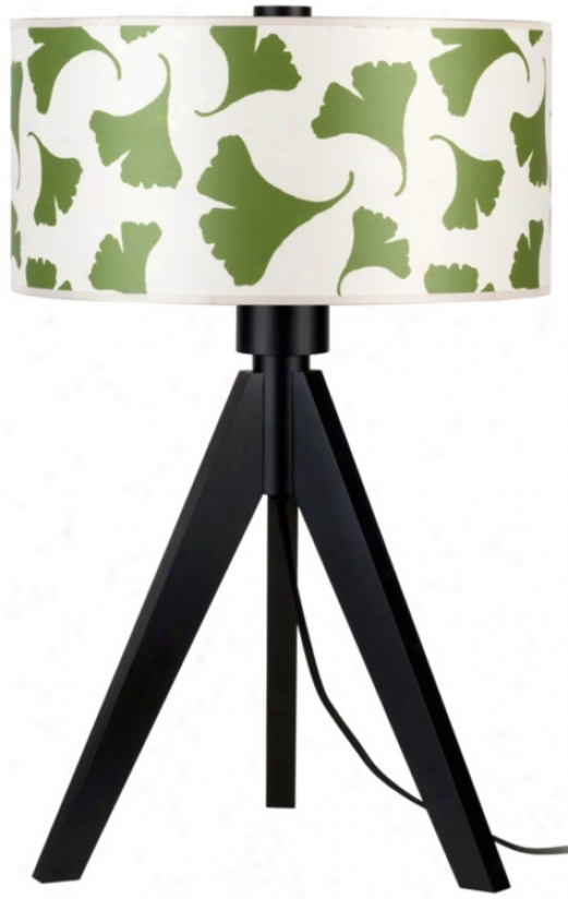 """Libhts Up! Woody 28"""" Hgh Green Ginko Leaf Shade Table Lamp (t6051)"""