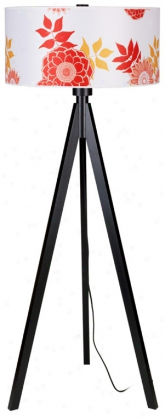 Lights Up! Woody Black Anna Red Shade Floor Lamp (t2972)