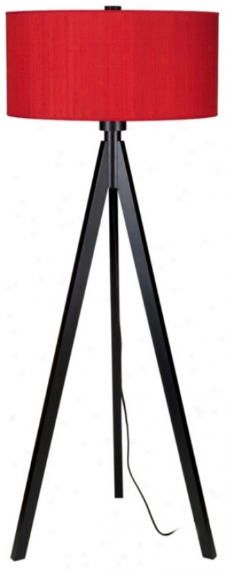 Lights Up! Woody Black Red Dupioni Silk Shade Floor Lamp (t2976)