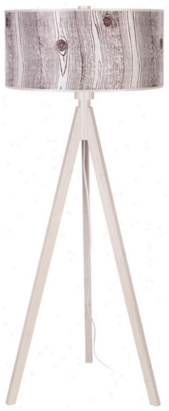 Lights Up! Woody Pickled Faux Bois Shade Floor Lamp (t2981)