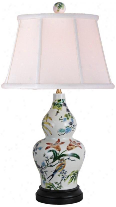 Lily Sculpted Vase Porcelain Table Lamp (v2504)