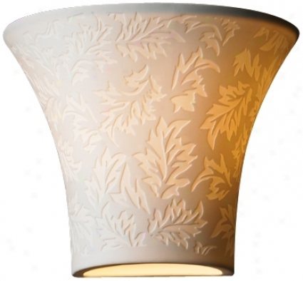 "Limoges Collection Flared Leaves 6 3/4"" High Wall Sconce (f6908)"