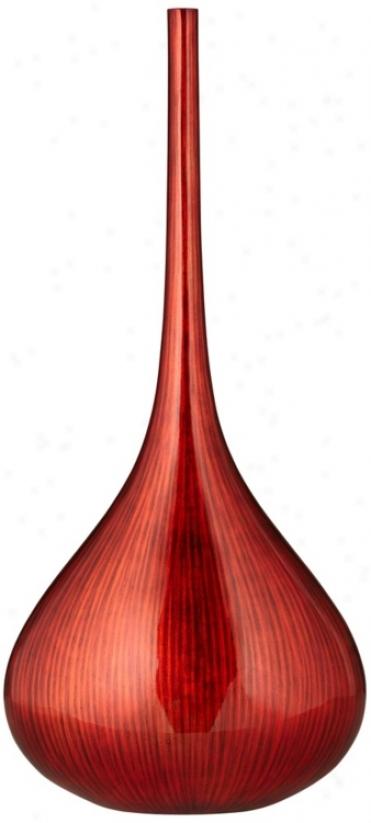Line Large Neon Red Bottle Vase (t8593)