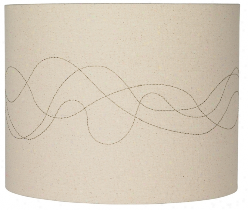 Linen Abstract Stitched Lamp Shade 14x14x11 (spider) (k4304)