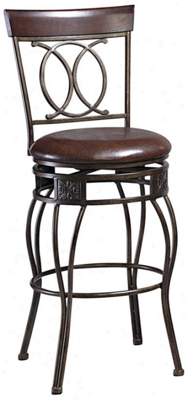 "Linon O And X Back Swivel 30"" High Bar Stool (m9544)"