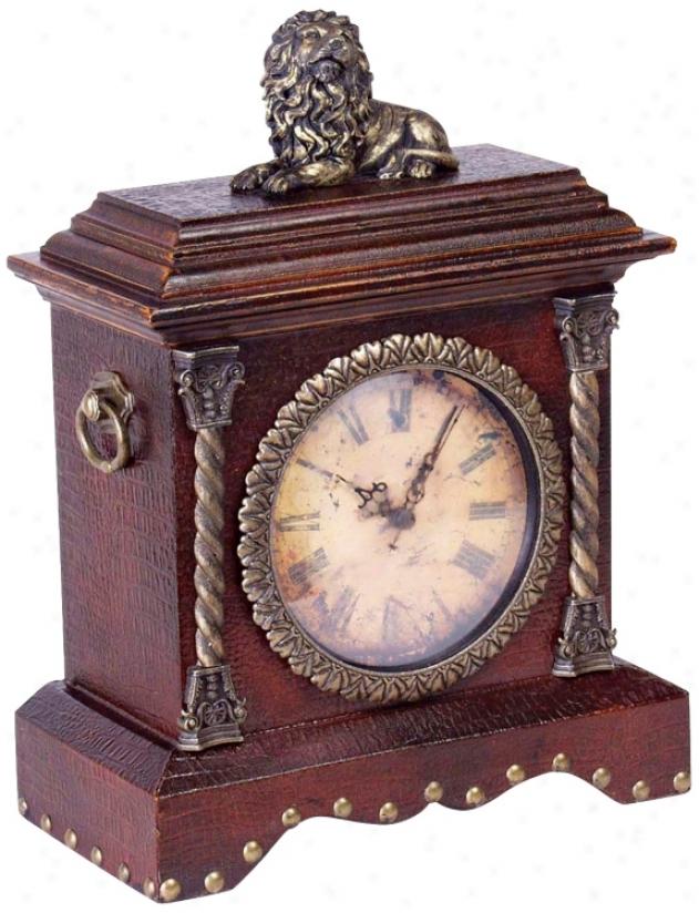 """Lion Figure Decorated 13 1/2"""" Wide Desk Clock (j3086)"""