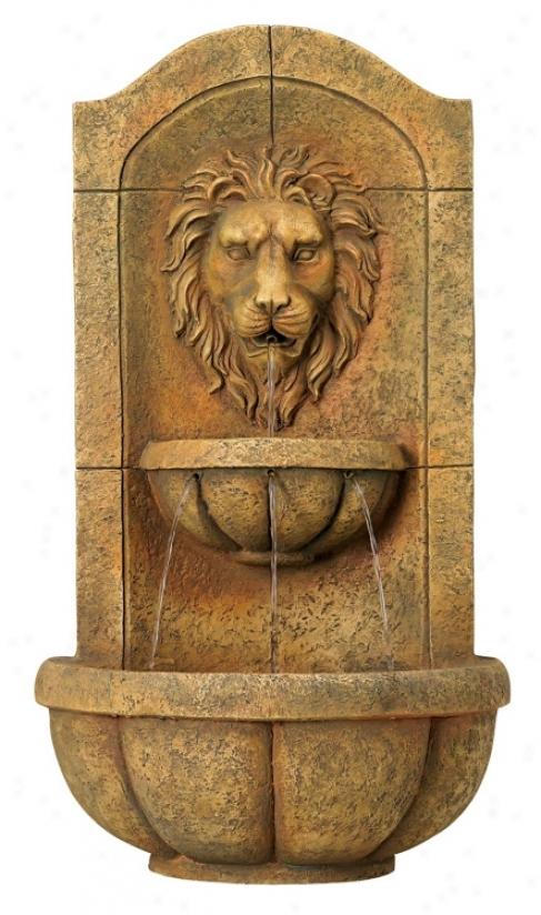 Lion Head Faux Stone Wall Fountain (26106)