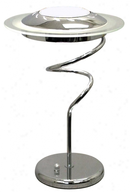 Lite Source Chrome Twist With Frosted Glasd Shade Desk Lamp (94863)