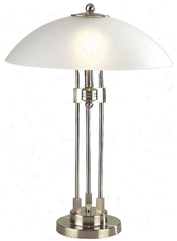 Lite Source Dome Shade Brushed Harden Contemporary Table Lamp (89454)
