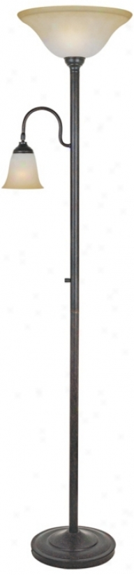 Lite Source Thiago Bronze Torchiere Lamp With Reading Arm (v1099)