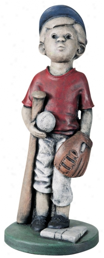 Little Boy Baseball Player Yard Decor Garden Sculpture (27124)