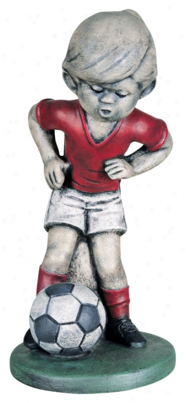 Little Boy Soccer Player Yard Decor Garden Sculpture (27057)